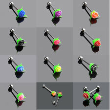 1PCS Silicone Rose Flower Tongue Bars Tounge Barbell Piercing Jewelry 10color