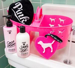 Victoria Secret PINK Shower Caddy Storage Basket Heart Pink Dog Logo Colleg