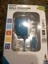 Micro USB Wall Charger 4 ft Rapid Charge, Blue Travelocity