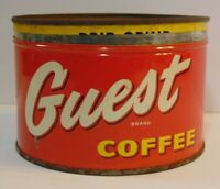 Old Vintage 1950s GUEST COFFEE KEYWIND COFFEE TIN 1 POUND LOS ANGELES CALIFORNIA