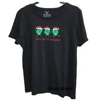 Black Tee Christmas Sprout Cotton Top Women's Printed T-shirt Casual Primark