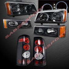 03-06 CHEVY SILVERADO DUAL HALO HEADLIGHTS w/ LED + BUMPER + BLACK TAIL LIGHTS