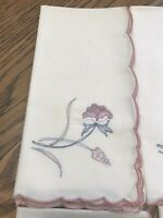 "Vintage Napkins 15'X16"" embroidered flower Pink/Mauve Scalloped edge set of 8"