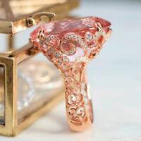 Original Pink Sapphire Rose Gold Filled Ring Women Wedding Bridal Jewelry Sz6-10