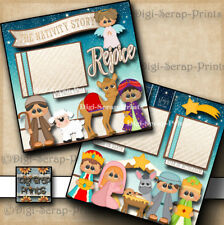 CHRISTMAS NATIVITY 2 premade scrapbooking pages paper piecing DIGISCRAP  #A0159