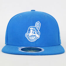 New Era Kids Cleveland Indians Fitted Blue MLB Flat Cap Size 6 5/8