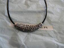 lia sophia black cord magnolia floral silver crystal necklace free ship nwot