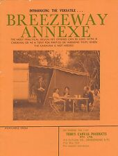 Vintage Brochure - Breezeway Annexe for Caravan, Motor Home by Tebb's Canvas