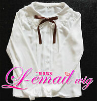 Lolita collar Falbala White Slim Blouse Chiffon long sleeve Shirt Women Tops