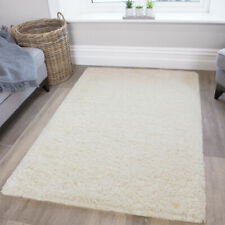 Cheap Solid Plush Cream Ivory Shaggy Rug Dense Long Pile Non Shed Bedroom Rugs