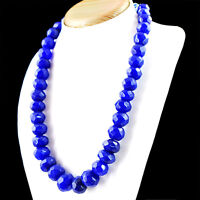 955.00 Cts Earth Mined Rich Blue Sapphire Round Cut Beads Hand Made Necklace