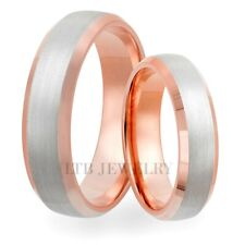 10K WHITE & ROSE GOLD WEDDING BANDS, TWO TONE GOLD HIS & HERS WEDDING RINGS SET