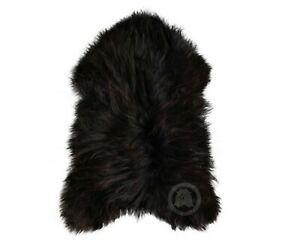ICELANDIC SHEEPSKIN NATURAL BLACK RUG, 100% NATURAL