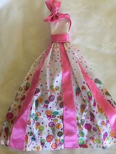Pink And White Candy Print Full Length Dress Barbie Doll Clothes Fashion