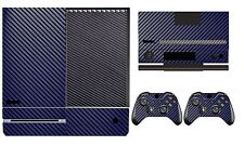 Blue Carbon Fiber Cover Skin Sticker for Xbox One & Kinect & 2 controller skins