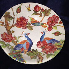 """ANDREW TANNER ENGLAND MAJESTIC 7 1/2"""" SOUP CEREAL BOWL PEACOCKS PINK ROSES"""