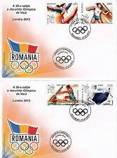Rumanía 2012 Fdc Juegos Olímpicos de Londres 4v Set De 2 Cubre Juegos Esgrima Canoa Javelin
