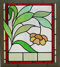 Antique Stained Glass Window Eight Colors of glass Ruby Bordered Bloom    (2638)