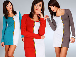 Womens Stylish Cocktail Dress with Zipper 2-Colors Tunic Style Size 8-12 6504