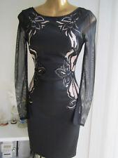 Lipsy NEW Size 4 Black Nude Laser Cut Lace Applique Look Top Bodycon Shop Dress