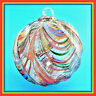 "Hanging Glass Ball 4"" Clear Ridged Multi-Colored Swirl Friendship Ball (1) GB88"