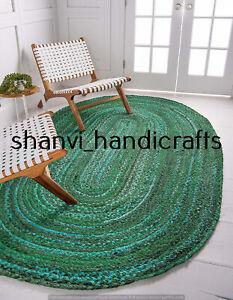 Braided Rug Cotton 4x6 Feet Floor Green Colour Area Rug Bedroom Decor Mat Carpet