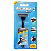 NEW SUPERMAX SWIFT3 RAZOR WITH 5 CARTIDGE BLADES FOR SMOOTH & COMFORTABLE SHAVE