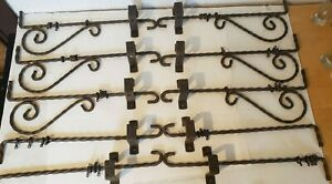 """5 Vintage Victorian 34"""" Swing Arm Curtain Rods & Brackets - Wrought Iron Antique"""