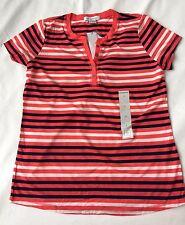 Liz Claiborne Short-Sleeve Stripe Tee SZ Small S MULTI COLOR NWT $26 super soft