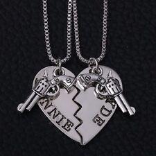 2pc Bonnie & Clyde Couples Necklace Set Partners in Crime Pistol His Hers Friend