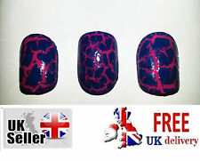 24 Acrylic False Fake Nails Cracked Effect Salon Manicure Pedicure Beauty French