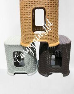 Small Plastic Rattan Stool Indoor Outdoor Home Garden Stackable Chair Step