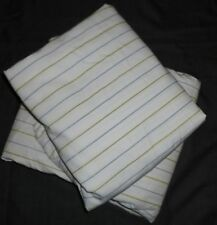 Nautica Twin 2 PC Flat & Fitted Sheet Set GREEN BLUE PIN STRIPED, NO PILLOWCASE