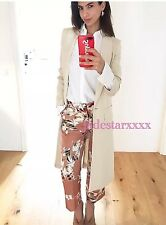 Zara Dark Pink Floral Trousers Large L 12 New Megan McKenna Towie BNWT Culottes