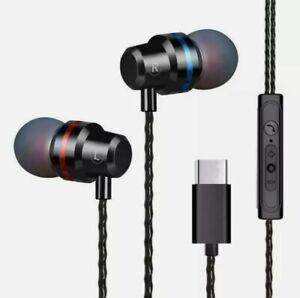 Type C Sports in-ear earphones with microphone volume control Metal earphones