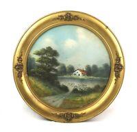 Antique 19th Century Victorian Pastel Painting Landscape Round Gold Gesso Frame