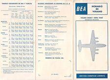 B.E.A. 1960 BRITISH EUROPEAN AIRLINE TIMETABLE