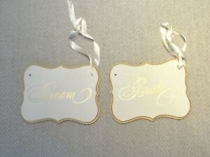 Bride and Groom Wooden Chair (2) Signs Ribbon Hanger 8 x 5.5 x 1.5