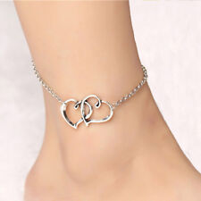 Cute Beach Anklet Foot Jewelry Couple Double Heart Chain Ankle Bracelet 10 inch