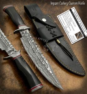 IMPACT CUTLERY RARE CUSTOM DAMASCUS FULLER BOWIE KNIFE BULL HORN HANDLE