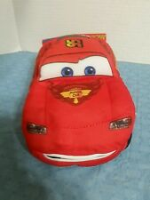 "DISNEY PIXAR CARS TALKING ""LIGHTNING MCQUEEN"" 9"" PLUSH RED CAR-MOUTH MOVES-EUC"