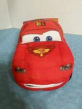 "DISNEY PIXAR CARS TALKING ""LIGHTNING MCQUEEN"" 9"" PLUSH RED CAR-MOUTH MOVES-EUC"