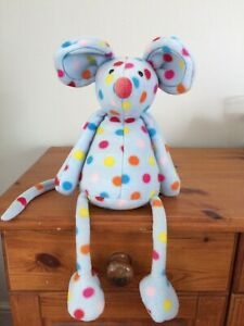 """Jellycat Blue Spotty Mouse Les Animals Le Mouse 16"""" Soft Toy Retired 2012 J1157"""