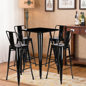 Industrial Breakfast Bar Stool Table Set and 4 Metal Chairs Kitchen Bistro Cafe