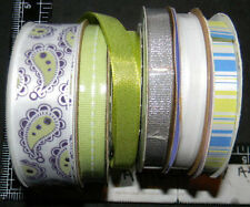 SATIN GROSGRAIN METALLIC 6 ROLLS LOT RIBBON PAISLEY STRIPE WHITE SILVER #426