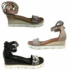MJUS sandalo donna in pelle con zeppa fondo in gomma art 866005 (Zeppa: cm 5)