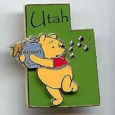 DISNEY COLLECTORS 3D STATE TRADING PIN UTAH WINNIE THE POOH BEAR NEW ON CARD