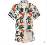 Men Hawaiian T Shirt Short Sleeve Summer Holiday Floral Beach Blouse Shirts Tops