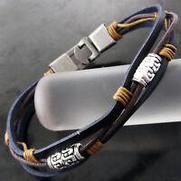 Bracelet Bangle Real 925 Sterling Silver S/F Celtic Bead Leather Strand Design