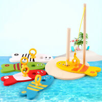 Children Colorful Wooden Fish Set Fishing Digital Early Educational Game Toy~